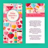 Plantilla del aviador del vector de Valentine Day Objects y del elemento felices Imagen de archivo