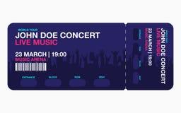 Plantilla del boleto del concierto stock de ilustración
