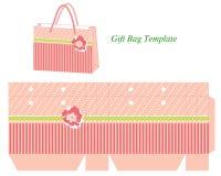 Plantilla del bolso del regalo con las rayas y la flor Imagen de archivo libre de regalías