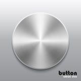 Plantilla del botón redondo con textura del cromo del metal o del aluminio Fotos de archivo