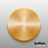 Plantilla del botón redondo con textura del metal del oro Imagenes de archivo