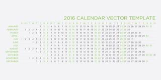 Plantilla 2016 del calendario Imagen de archivo