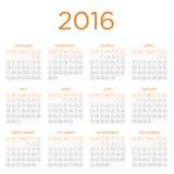 Plantilla 2016 del calendario Fotografía de archivo libre de regalías