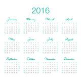 Plantilla 2016 del calendario Fotos de archivo