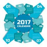 Plantilla 2017 del calendario Foto de archivo libre de regalías