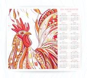 Plantilla del calendario con el gallo modelado libre illustration