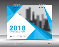 Plantilla 2018 del calendario de la cubierta Diseño del aviador del folleto del negocio ilustración del vector