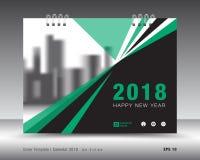 Plantilla 2018 del calendario de la cubierta Disposición del Libro verde Diseño del aviador del folleto del negocio anuncio libre stock de ilustración