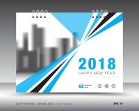 Plantilla 2018 del calendario de la cubierta Cubierta de libro Diseño del aviador del folleto del negocio stock de ilustración
