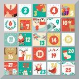 Plantilla del calendario del advenimiento de la Navidad La de la tarjeta de felicitación de Navidad del vector
