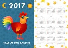 Plantilla del calendario del gallo ilustración del vector