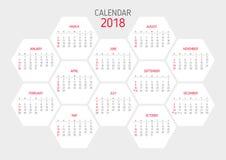 Plantilla 2018 del calendario Forma del hexágono Imagenes de archivo