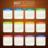 Plantilla del calendario para 2017 Fotografía de archivo