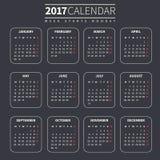 Plantilla del calendario para 2017 Imagen de archivo libre de regalías