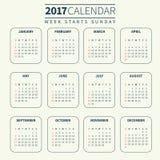 Plantilla del calendario para 2017 Fotos de archivo libres de regalías