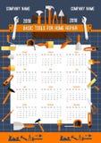 Plantilla del calendario del vector 2018 de las herramientas del trabajo Foto de archivo libre de regalías