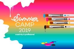 Plantilla 2019 del campamento de verano para Art Design School, estudio, curso, clase, educaci?n Ejemplo del vector del dise?o mo stock de ilustración