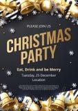 Plantilla del cartel de la fiesta de Navidad con oro brillante y ornamentos blancos imagen de archivo libre de regalías