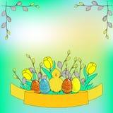 Plantilla del cartel de la historieta de la celebración del día de Pascua stock de ilustración