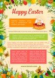 Plantilla del cartel de Pascua con el huevo y el marco floral