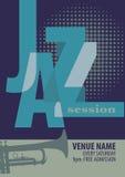 Plantilla del cartel del festival de jazz Foto de archivo