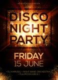Plantilla del cartel del partido de la noche del disco con el brillo stock de ilustración