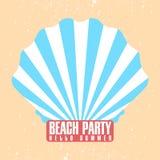 Plantilla del cartel del partido de la playa Shell, concha con el rayo del resplandor solar Diseño retro Invitación del vintage,  ilustración del vector