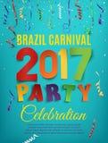 Plantilla del cartel del partido del carnaval 2017 del Brasil libre illustration