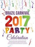 Plantilla del cartel del partido del carnaval 2017 del Brasil stock de ilustración
