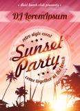 Plantilla del cartel del rosa del vector del partido de la playa de la puesta del sol Imagenes de archivo