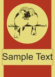 Plantilla del cartel del vector de los pájaros del amor de los pares del gorrión Foto de archivo libre de regalías