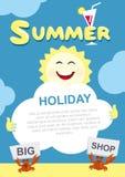 Plantilla del cartel del verano El sol y la nube Buenos días Foto de archivo libre de regalías
