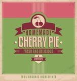 Plantilla del cartel del vintage para la empanada de la cereza Imágenes de archivo libres de regalías