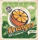Plantilla del cartel del vintage para la granja anaranjada ilustración del vector