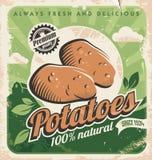 Plantilla del cartel del vintage para la granja de la patata