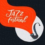 Plantilla del cartel del festival de jazz del vector con el saxofón ilustración del vector