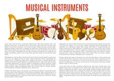 Plantilla del cartel del instrumento musical, diseño de la música stock de ilustración