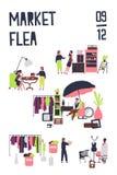 Plantilla del cartel para el mercado de pulgas o feria de trapo con los compradores y los vendedores de los accesorios, mobiliari ilustración del vector
