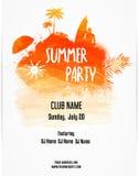Plantilla del cartel para el partido del verano ilustración del vector