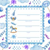 Plantilla del cartel para la ducha boy_Baby del bebé recién nacido ilustración del vector