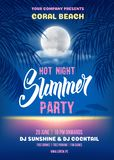 Plantilla del cartel del partido de la noche de verano Fotografía de archivo libre de regalías