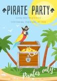Plantilla del cartel del partido del niño del pirata ilustración del vector