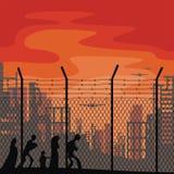Plantilla del cartel sobre refugiados stock de ilustración