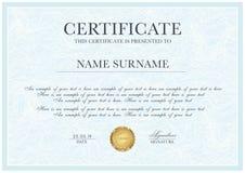 Plantilla del certificado con el modelo del guilloquis, la frontera de plata del marco y el premio del oro libre illustration