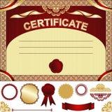 Plantilla del certificado con los elementos adicionales. Fotos de archivo