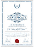 Plantilla del certificado con los elementos del guilloquis Imagenes de archivo