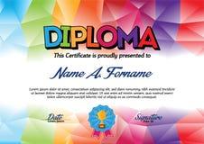 Plantilla del certificado del diploma con el marco colorido para los niños Imagen de archivo libre de regalías