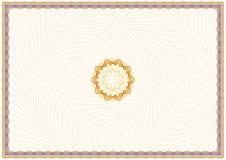 Plantilla del certificado del guilloquis Imágenes de archivo libres de regalías