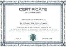 Plantilla del certificado del vector Imágenes de archivo libres de regalías