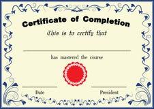 Plantilla del certificado del vector Fotografía de archivo libre de regalías